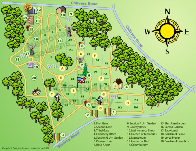 Claquato Cemetery Grounds Map