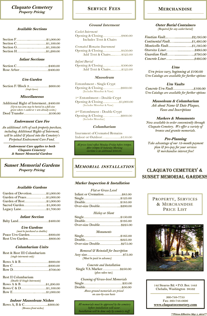 Claquato Cemetery Price List